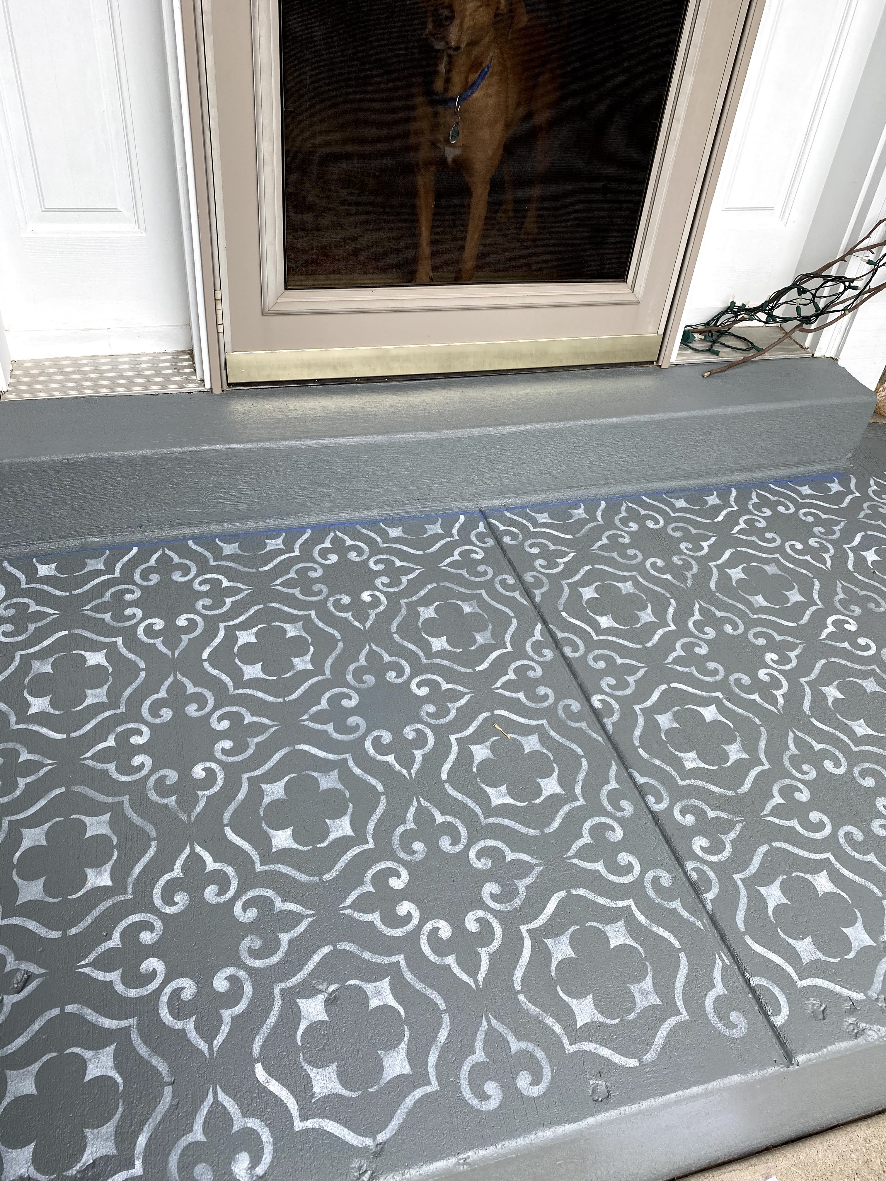 paint porch and stencil concrete