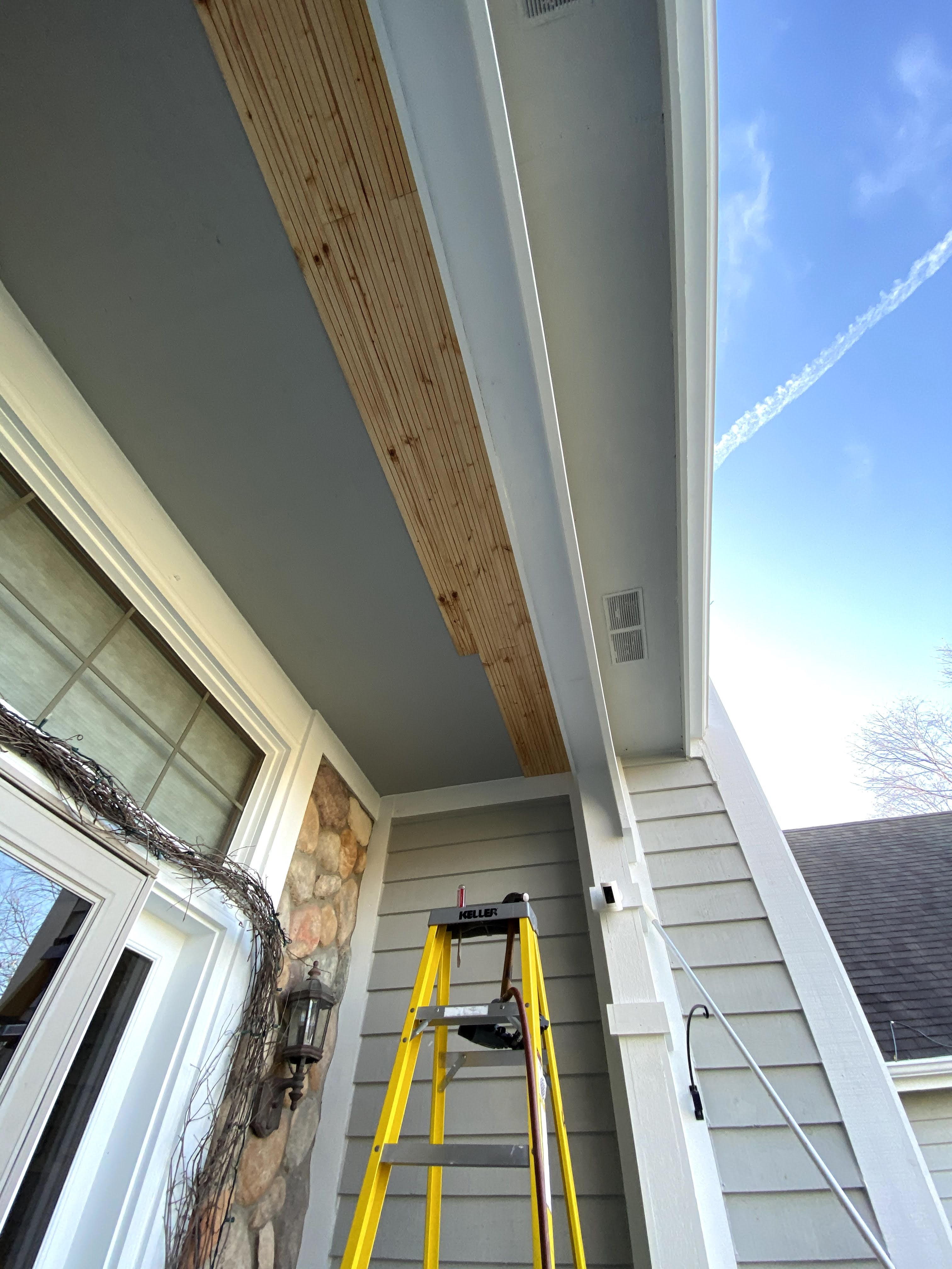 front porch ceiling tongue and groove paneling