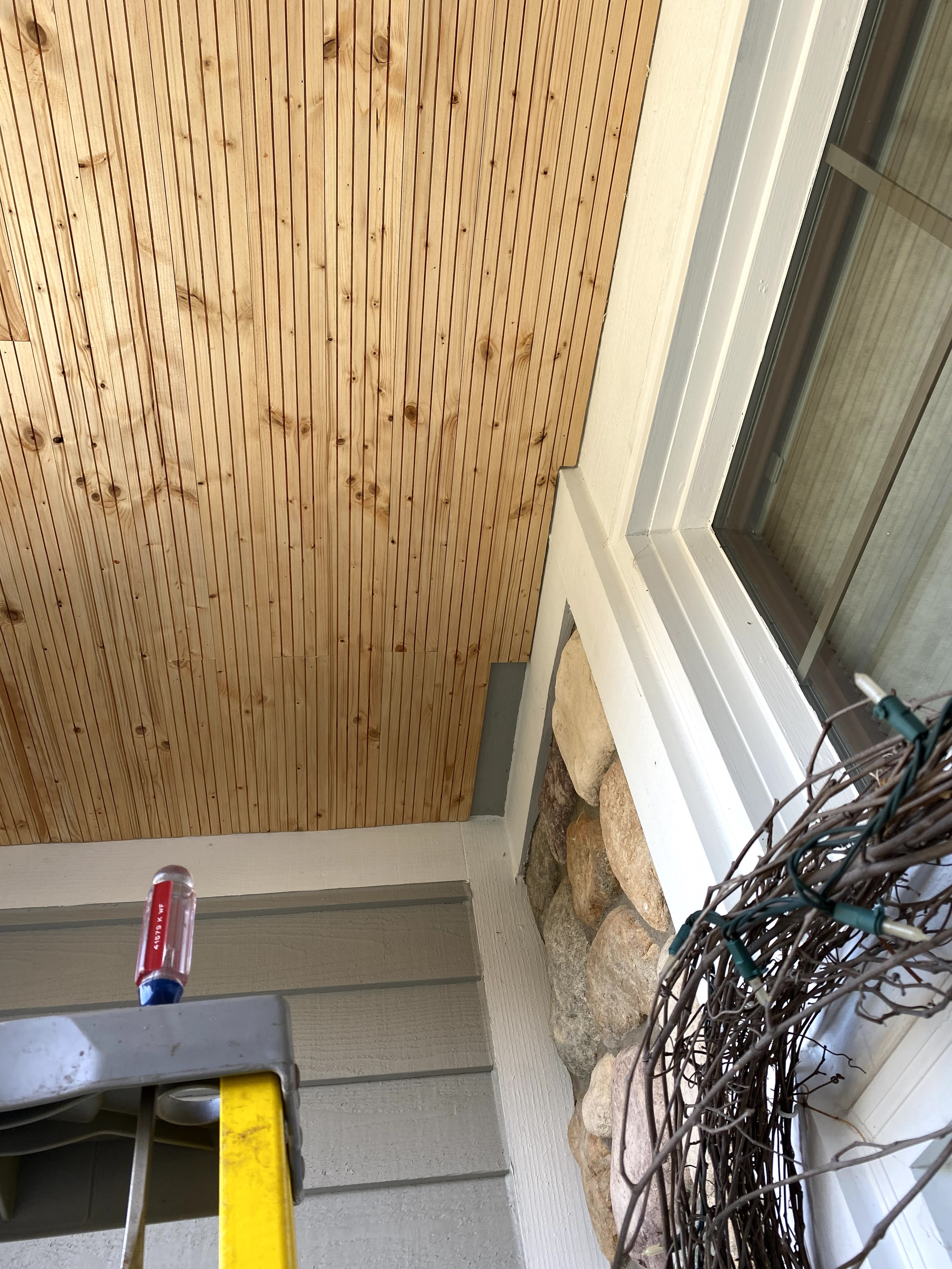 front porch makeover wood ceiling