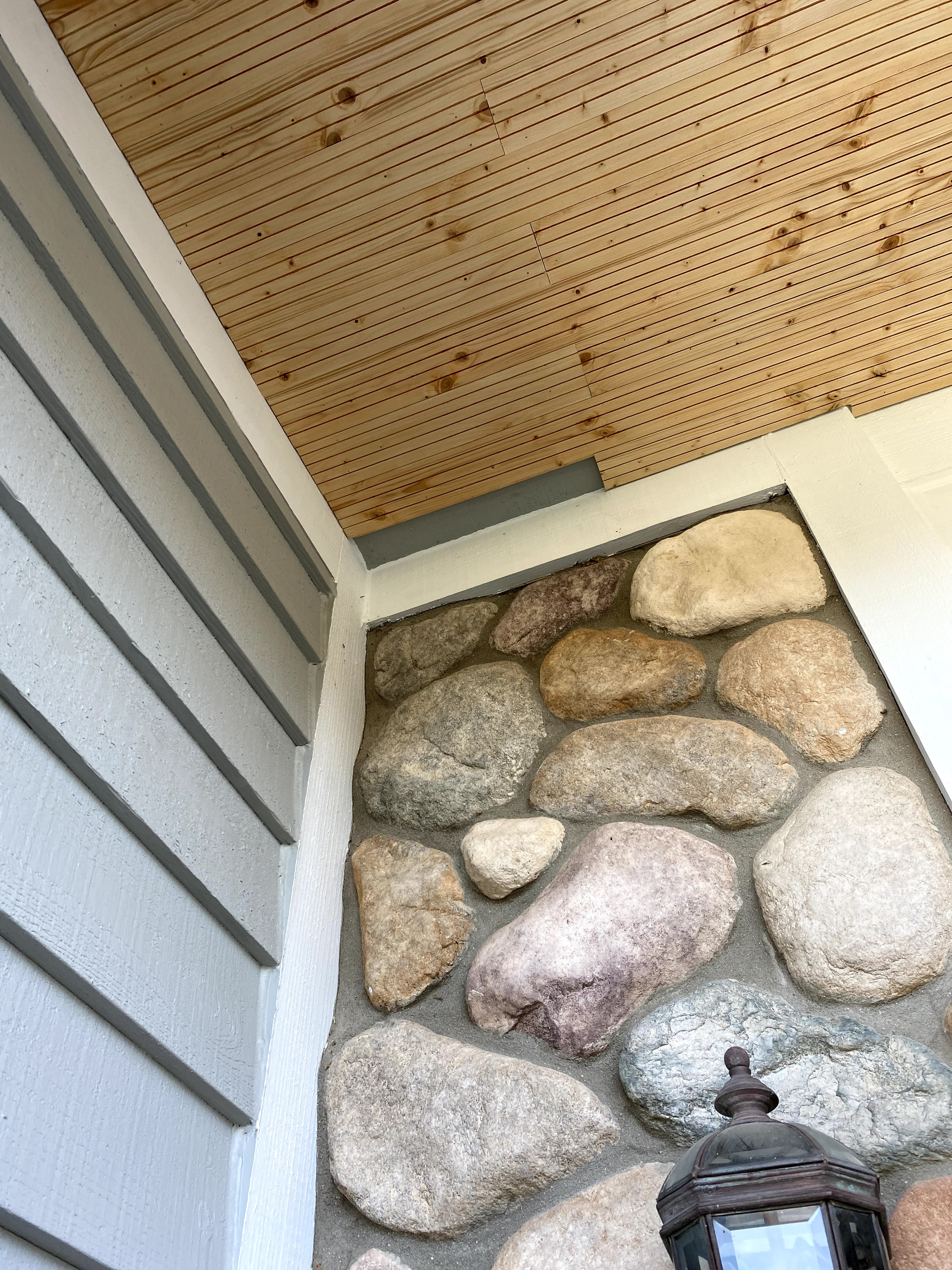 stained front porch ceiling makeover