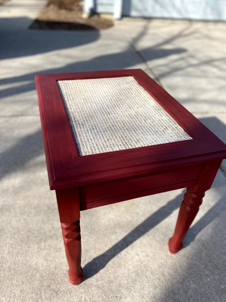 cane topped end table makeover